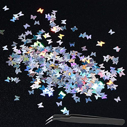 3D Christmas Butterfly Nail Glitter Sequins (10G/1 Bag), Laser Butterfly Nail Sequin Acrylic Paillettes, Holographic Nail Sparkle Glitter for Nail Art Decoration(Silver)