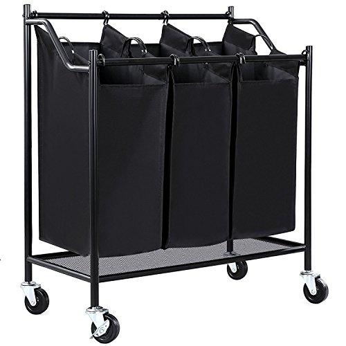 HollyHOME Heavy-Duty 3-Bag Rolling Laundry Sorter Storage...