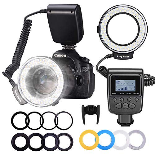 NEEWER カメラ/一眼レンズカメラ用 接写専用ストロボ LED 48球 マクロリングライト/マクロリングフラッシュ Canon、Nikonに対応 【並行輸入品】