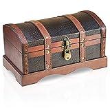 Brynnberg Caja de Madera - Croco 30x17x16cm - Cofre del Tesoro Pirata de Estilo Vintage - Hecha a Mano - Diseño Retro - joyero - con candado