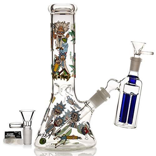 M-pungar Bong de cristal con percolado de tornado, Bongs de agua con cuenco de 14,5 mm para fumar cachimba (azul-1) (vidrio bong2)