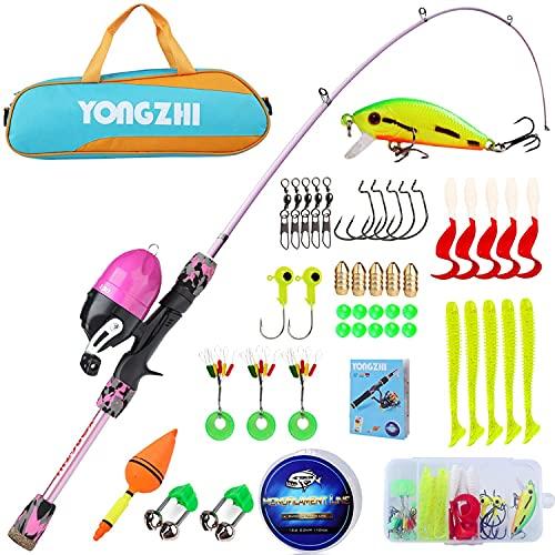 Sougayilang - Canne da pesca telescopica portatile e mulinello combinato, con lenza da pesca, per bambini, per ragazzi e ragazze