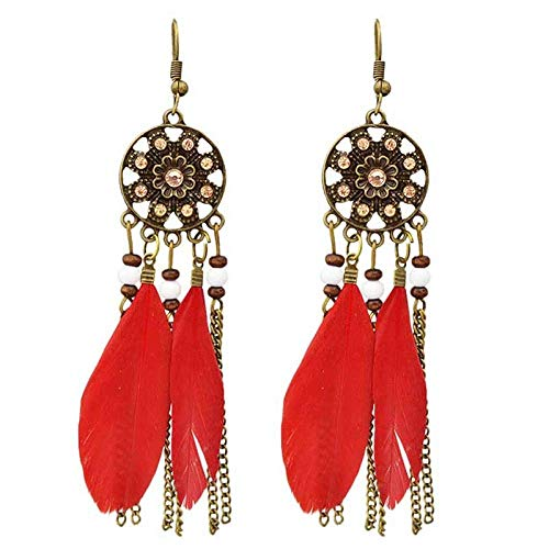 WMYATING The earrings are fashionable and beautiful, the sh Erin Punk Feather Crystal Tassel Alloy Bronze Chain Measles 1 Pair Of New Elegant Long 4 Color Rhinestone Drop Earrings