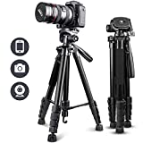 """UBeesize 67"""" Camera Tripod with Travel Bag, Cell Phone Tripod with Wireless Remote and Phone Holder, Compatible with All Cameras, Cell Phones, Projector, Webcam, Spotting Scopes"""
