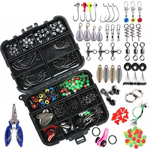 xie 188 pezzi kit di accessori da pesca con scatola di attrezzi da pesca girevole a scatto Jig Hook Lure incluso kit di accessori
