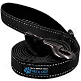 Max and Neo Small Dog Reflective Nylon Dog Leash - We Donate a Leash to a Dog Rescue for Every Leash Sold (Black, 4x5/8)