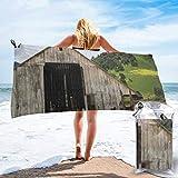 Lawenp Toalla de Playa de Secado rápido, Antiguo Granero de Madera con Tractor Oxidado Toallas de baño Ligeras de Microfibra Impresas súper absorbentes para niños y Adultos 31.5 'X63'