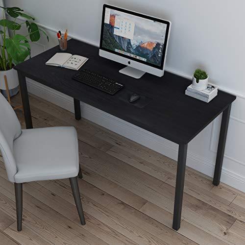 soges Schreibtisch Computertisch PC Tisch Arbeitstisch aus Holzwerkstoffen mit großen Tischoberfläche für Zuhause Büro Seminar usw,138x60CM,Schwarz