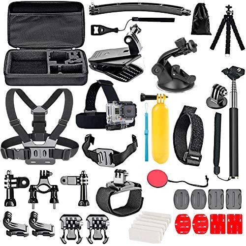 YHTSPORT Action Camera Accessori Kit Set per GoPro Hero 9 8 Max 7 6 5 4 Nero GoPro 2018 Session Fusion Argento Bianco Insta360 DJI SJCAM APEMAN AKASO e altri Telecamere (29in1)