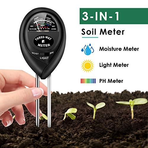 Soil Test Kit, 3-in-1 Soil Moisture Light PH Tester Gardening Tool Kits for Home, Garden, Farm, Indoor & Outdoor Use, Soil Moisture PH Test Kit