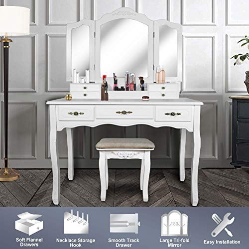 Vanity Beauty Station,Large Tri-Folding...