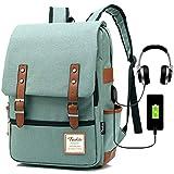 Vintage Laptop Backpack Women Men, School College Backpack USB Charging Port & Headphone Jack, Fashion Backpack Fits 15.6 inch Notebook - Green-Function Update