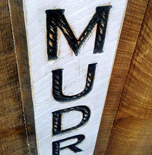 Vertical MUDROOM Sign 40' tall - Carved in a Wood Board Rustic Distressed Shop Advertisement Farmhouse Style Room...