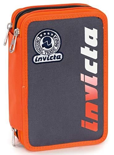 Astuccio 3 Zip Invicta Kupang, Grigio, Con materiale scolastico: 18 pennarelli Giotto Turbo Color,...