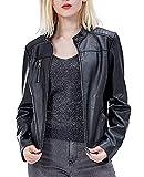 Fahsyee Women's Faux Leather Jackets, Zip Up Motorcycle Short PU Moto Biker Outwear Fitted Slim Coat Black Size XL