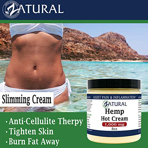 Hemp Hot Cream-Hemp Oil-Organic Hot Cream-Anti Cellulite-Muscle Cream-Pain Support (1,000mg) 5
