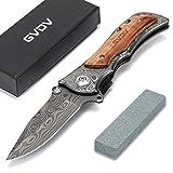 GVDV : Couteau pliable de poche avec pierre à aiguiser en acier inoxydable 7Cr17, lame revêtue de titane, poignée en Bois, blocage de sécurité, boucle de ceinture