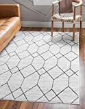 Rugs.com Lattice Trellis Collection Rug – 7' x 10' White Low-Pile Rug Perfect for Living Rooms, Large Dining Rooms, Open Floorplans