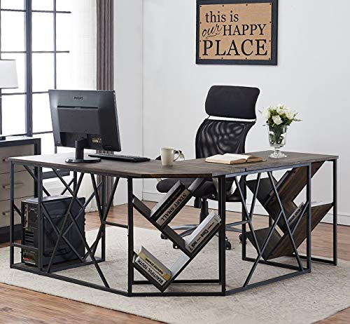 O&K Furniture L-Shaped Home Office Desk with Tree Bookshelf, Corner...