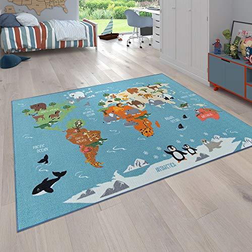 Tappeto per Bambini, Tappeto da Gioco per Le camere dei Bambini, Mappa del Mondo con Animali, in...
