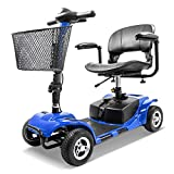 Furgle 4 Wheel Mobility Scooter Electric Power Mobile Wheelchair for Seniors Adult - Collapsible and Compact Duty Travel Scooter w/Basket and Long Range Power Extended Battery (Black)