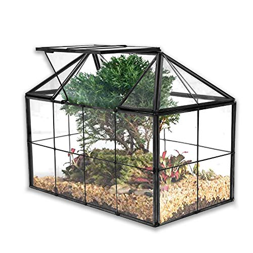 Banord Black Glass Terrarium, Geometric House Shape Succulent Planter...