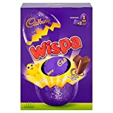 Imported from the UK for Easter, Cadbury's Wispa Easter Egg is a large size, hollow milk chocolate egg with 2 delicious Wispa candy bars inside. Cadbury's Wispa is a sumptuous milk chocolate bar with tiny, but dense bubble