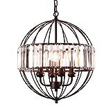 mirrea Vintage Metal Cage Crystal Chandeliers Pendant Lights Oil Rubbed Dark Bronze 4 Lights of Candelabra Base