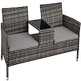 TecTake Salon de Jardin en résine tressée canapé Banc avec Table intégrée...