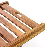 Divero GL05654 Sonnenliege Gartenliege Relaxliege Liege aus Teak Holz behandelt klappbar extra hohe Rückenlehne 5-Fach verstellbar, Braun - 4