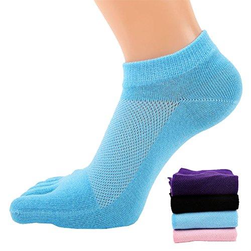 4 Paar Frauen Mesh Lauf- oder Sportsocken, 5-Zehen-Socken