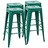 Furmax 30 Inches Metal Bar Stools High Backless Stools Indoor-Outdoor Stackable Kitchen Stools Set of 4 (Green)