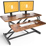 FEZIBO Standing Desk with Height Adjustable 36 Inches Stand Up Desk Converter, Ergonomic Computer Workstation Riser Rustic Brown
