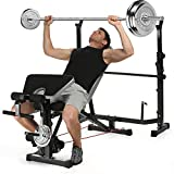 Aceshin 330lbs Adjustable Olympic Weight Bench with Preacher Curl & Leg Developer, Lifting Press Gym Exercise Equipment for Full-Body Workout (Black)