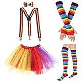 80s Womens Accessory,Tutu Skirt,Unicorn Headband, Unicorn Wigs Rainbow Long Gloves Socks,Rainbow Adjustable Suspenders w/Bow-tie (1-C)