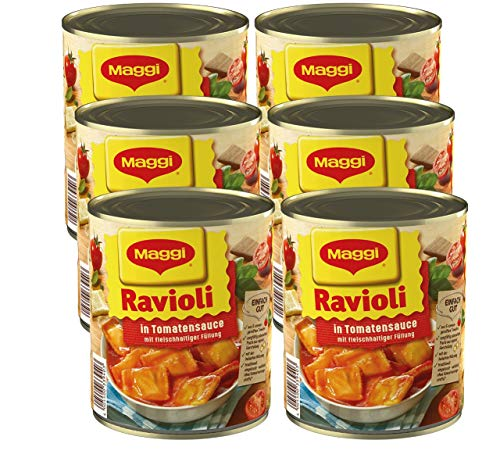 MAGGI Ravioli in Tomatensauce, Teigtaschen gefüllt mit würzigem Fleisch, in fruchtiger Sauce, leckeres Fertiggericht, ideal für Camping, 6er Pack (6 x 800 g)