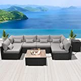 DINELI Patio Furniture Sectional Sofa with Gas Fire Pit Table Outdoor Patio Furniture Sets Propane Fire Pit (Light Gray-Square Table)