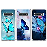 BEAULIFE Case for Samsung Galaxy S10 Plus Painted 3Pcs Series Phone Case Cover Full Body Protective Soft Flexible TPU Case Butterfly