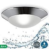 B.K.Licht plafonnier LED salle de bain Ø 310mm, applique salle de bain, éclairage plafond, lumière blanche chaude, luminaire IP44 salle d'eau et cuisine, pour ampoule E27 40W max., 230V