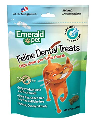 Emerald Pet Feline Dental Crunchy Natural Grain Free Cat Treats, Made in USA, 3 oz, Model: 00404-CO