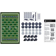 Officially Licensed NFL Product Game includes 24 checkers pieces, 8 football helmet king pieces, 13 inch x 21 inch game board, sticker sheet and instruction sheet Crown your king checker with a Seattle Seahawks helmet that snaps securely into place Ÿ...