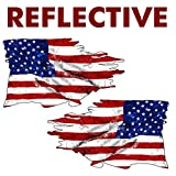 AZ House of Graphics Reflective USA Tattered Flag Sticker Mirrored 2 Pack Stickers #FS2013LR
