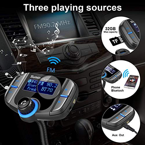 Product Image 8: (Upgraded Version) Bluetooth FM Transmitter, Sumind Wireless Radio Adapter Hands-Free Car Kit with 1.7 Inch Display, QC3.0 and Smart 2.4A Dual USB Ports, AUX Input/Output, TF Card Mp3 Player