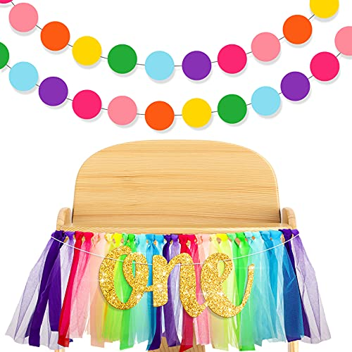 Rainbow High Chair Banner Highchair Tutu Skirt High Chair Decoration with One Pennant and 2 Pieces Colorful Round Paper Banner for 1st Birthday Party, Birthday Decoration Supplies for Kids