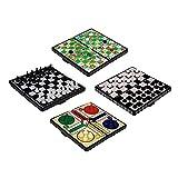 JJPRIME WSS - 4 en 1 échecs / Ludo / Serpent Et échelle / Jeu DE Dames /...