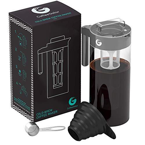 Coffee Gator Cold Brew Kaffeemaschine – BPA-freier Filter und Glaskaraffe – Brühsatz mit Edelstahl-Messlöffel und klappbarem Einfülltrichter – 1,4 Liter – Grau