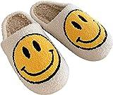 Retro smiley face soft plush comfy warm slip-on slippers (White, Medium, numeric_7_point_5)