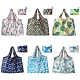 Shopping Bag Tote Bag with Pouch Reusable Shopping Bag 6 Pack Foldable Shopping Bag Washable Shopping Bags Reusable Grocery