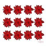 Anyingkai 12pcs Flores Navidad Artificiales,Flores de Pascua Navidad,Flor de Simulacin Navidea,Flor Navidea Brillanteflores Navidad (Rojo)