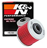 K&N Motorcycle Oil Filter: Premium High Performance Oil Filter designed to be used with synthetic or conventional oils fits Yamaha Applications XVS1100, XVS650, XT600 oil Filter KN-145, Black